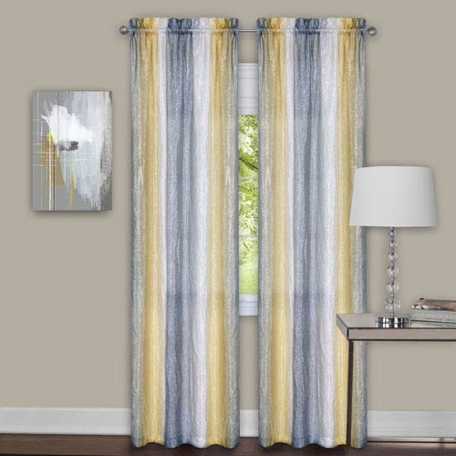 Sombre Gray and Yellow 84 x 40 In. Curtain Panel Pair