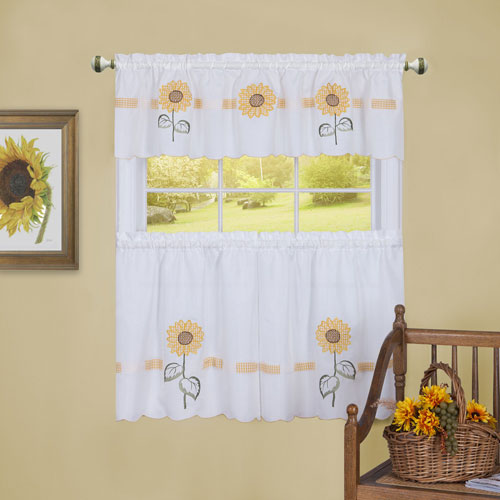 Sun Blossoms Embellished 56 x 36 In. Tier and Valance Window Curtain Set