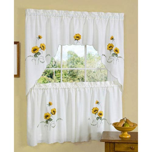 Sunshine Embellished 58 x 24-Inch Tier Pair and Swag Window Curtain Set