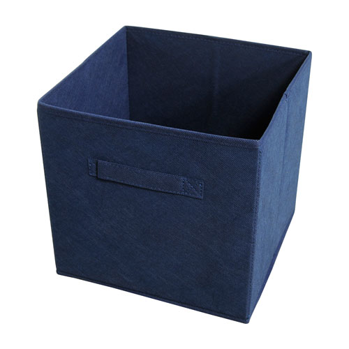 Collapsible Navy Storage Bins, Set of Four