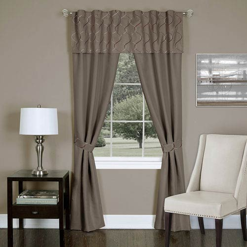Achim Importing Company Trellis Toffee 63 x 55 In. Five-Piece Window Curtain Set