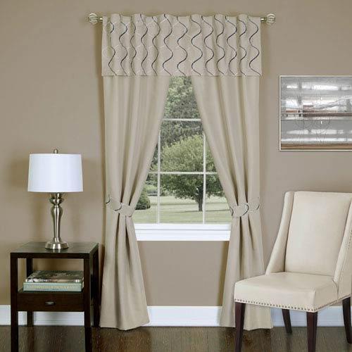 Achim Importing Company Trellis Tan 63 x 55 In. Five-Piece Window Curtain Set