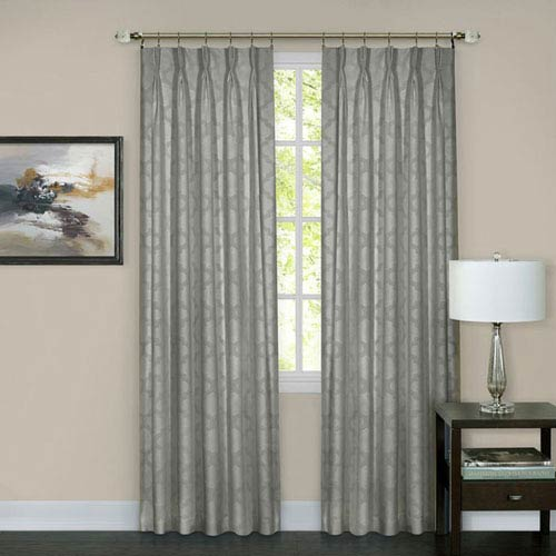 Achim Importing Company Windsor Silver Pinch Pleat 63 x 34 In. Window Curtain Panel