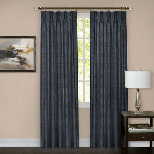 Achim Importing Company Windsor Navy Pinch Pleat 84 x 34 In. Window Curtain Panel