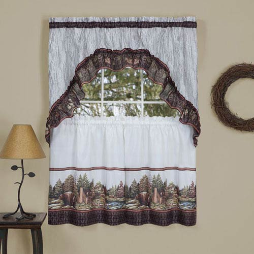 Woodlands Brown 57 x 36-Inch Printed Tier and Swag Window Set