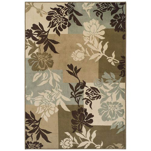 Easton Beige and Green Rectangular: 5 Ft. 2 In. x 7 Ft. 8 In. Rug