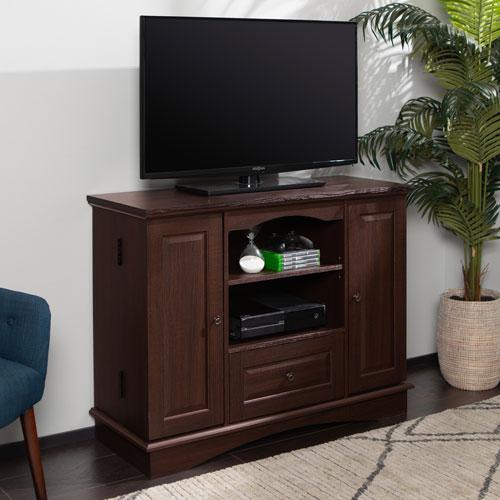 42-inch Espresso Wood Highboy TV Stand
