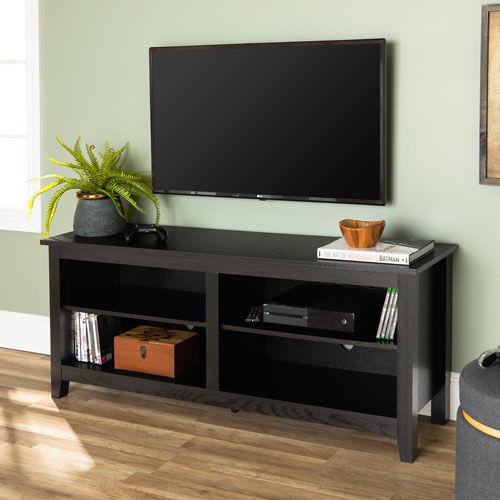 58-inch Black Wood TV Stand Console