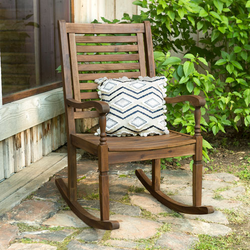 Solid Acacia Wood Rocking Patio Chair, Dark Brown