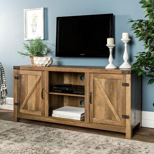 58-Inch Barn Door TV Stand with Side Doors - Rustic Oak