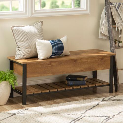 48-Inch Open-Top Storage Bench with Shoe Shelf - Barn wood