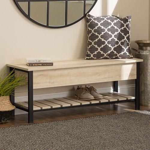 48-Inch Open-Top Storage Bench with Shoe Shelf  - White Oak