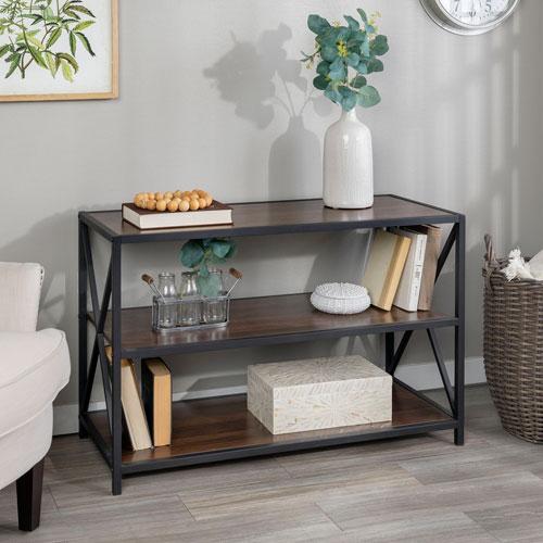 40-Inch X-Frame Metal and Wood Media Bookshelf - Dark Walnut