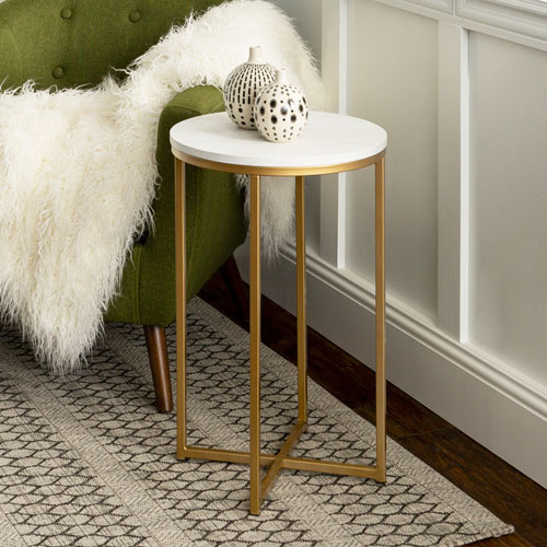 16-Inch Round Side Table - Marble/Gold