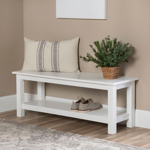 50-Inch Country Style White Entry Bench with Slatted Shelf