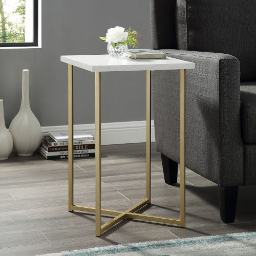 Gold Legs Square Side Table with White Marble Top
