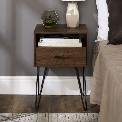Dark Walnut 18-Inch Single Drawer Hairpin Leg Side Table
