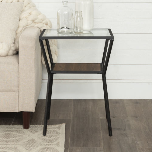 Dark Walnut and Black 18-Inch Metal Frame and Glass Top Side Table