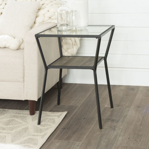 Slate Gray 18-Inch Metal Frame and Glass Top Side Table