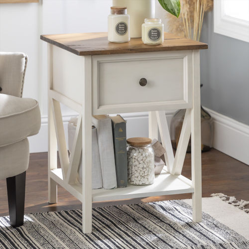 Natalee Barnwood and White One Drawer Side Table
