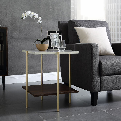 Marble and Gold Square Side Table