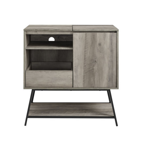 Bonnie Gray and Black Record Player Accent Cabinet