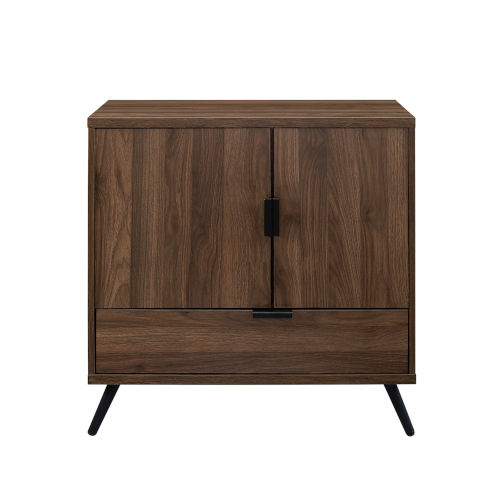 Karlene Dark Walnut and Black Accent Cabinet with One Drawer