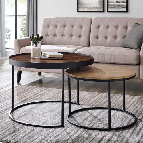 Pamela Dark Walnut and English Oak Nesting Table, Set of 2