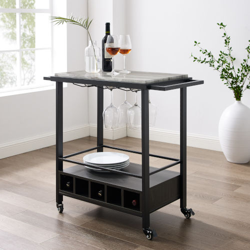 Graphite and Grey Vein Cut Faux Marble Bar Serving Cart