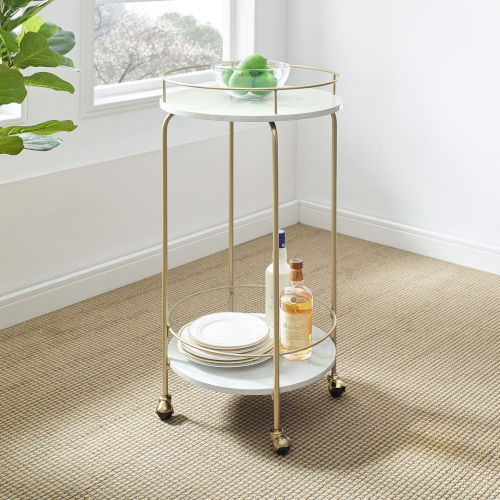 Libby White and Gold Two Tier Bar Cart
