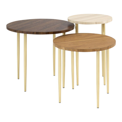 Darcy Dark Walnut, Beige and Gold Nesting Table, Set of 3