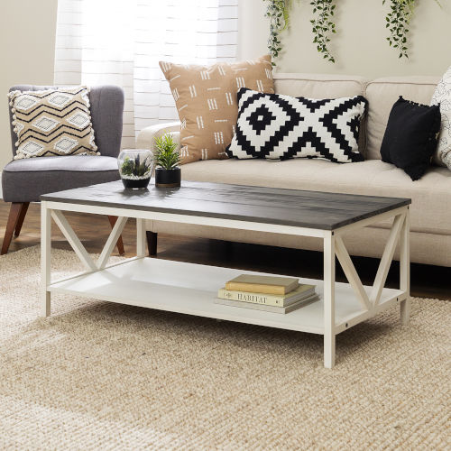 Natalee Gray and White Coffee Table