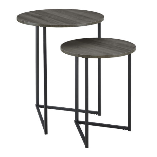 Slate Gray and Black 20-Inch Two-Piece V-Leg Nesting Side Tables