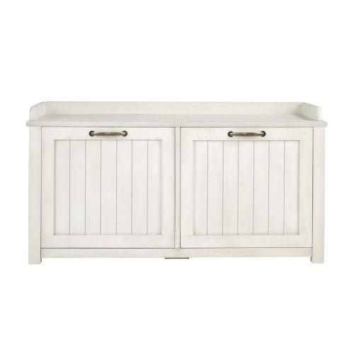 White Wash Shoe Storage Entry Bench