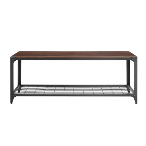 Dark Walnut and Black Entry Bench with Shelf