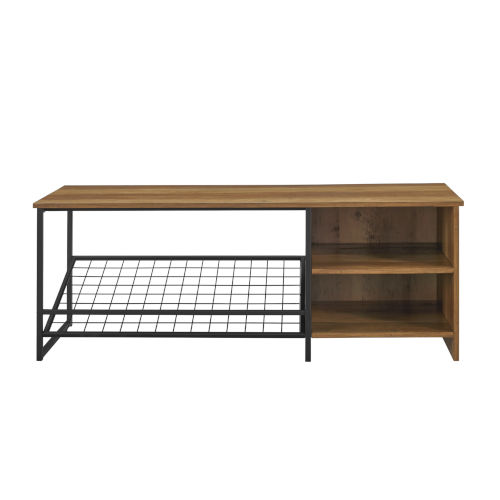 Clayton Barnwood and Black Entry Bench with Shoe Storage