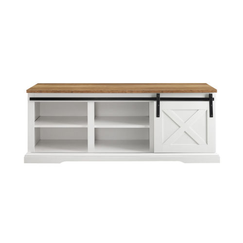 White and Barnwood Entry Bench with Storage