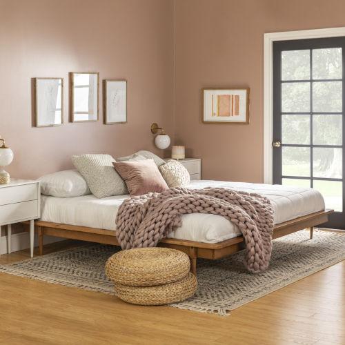 Caramel Wooden King Platform Bed