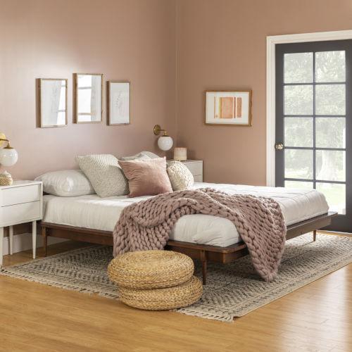 Walnut Wooden King Platform Bed