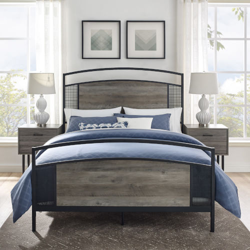 Osborn Gray and Black Queen Mesh Bed Frame