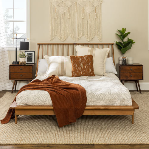 Queen Caramel 92-Inch Spindle Bed