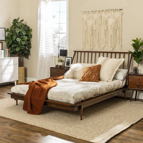 Queen Walnut 92-Inch Spindle Bed