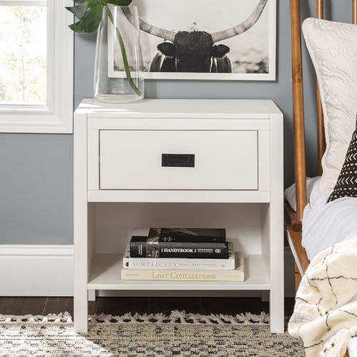 Lydia White Nightstand with One Drawer