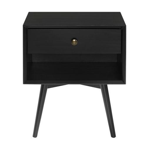 Mid Century Black One-Drawer Nightstand
