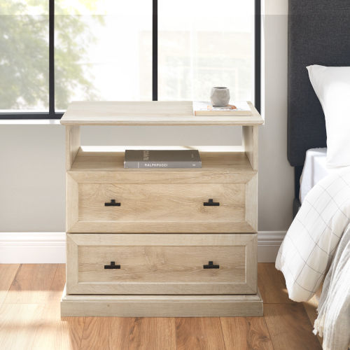 Clyde White Oak Nightstand with Two Drawers