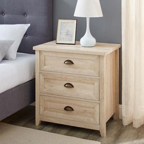 Odette White Oak Three-Drawer Nightstand
