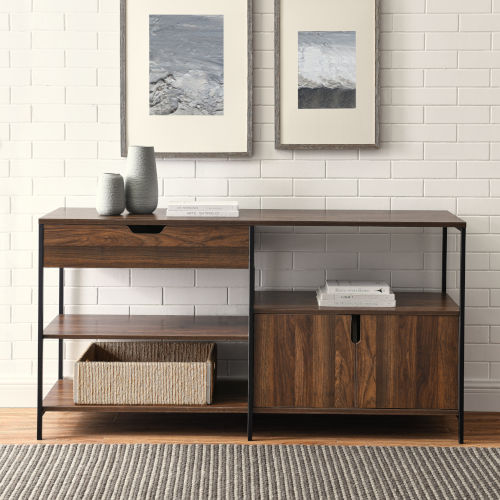 Keaton Dark Walnut and Black Storage Shelf