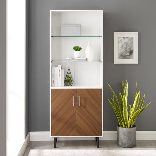 Hampton Solid White and Brown Bookmatch Door Two-Tone Hutch