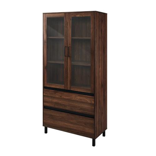 Clark Dark Walnut and Black Storage Hutch with Glass Door