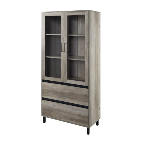 Clark Gray and Black Storage Hutch with Glass Door
